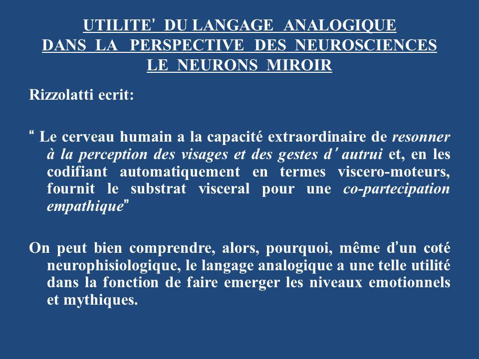 UTILITE' DU LANGAGE ANALOGIQUE DANS LA PERSPECTIVE DES NEUROSCIENCES LE NEURONS MIROIR