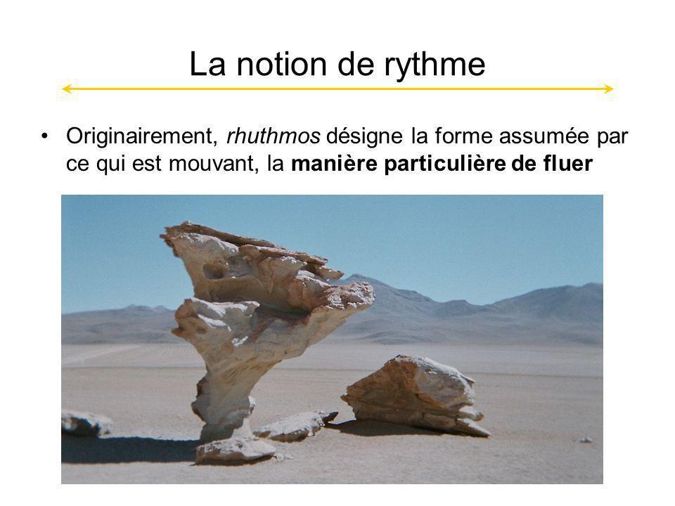 La notion de rythme Originairement, rhuthmos désigne la forme assumée par ce qui est mouvant, la manière particulière de fluer.