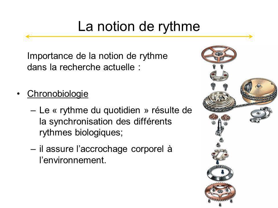 La notion de rythme Importance de la notion de rythme dans la recherche actuelle : Chronobiologie.