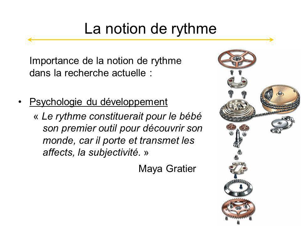 La notion de rythme Importance de la notion de rythme dans la recherche actuelle : Psychologie du développement.