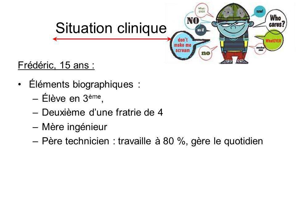 Situation clinique Frédéric, 15 ans : Éléments biographiques :