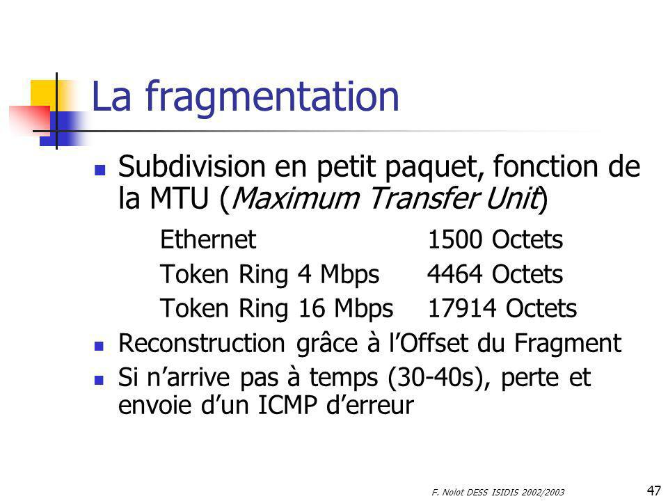 La fragmentation Subdivision en petit paquet, fonction de la MTU (Maximum Transfer Unit) Ethernet 1500 Octets.