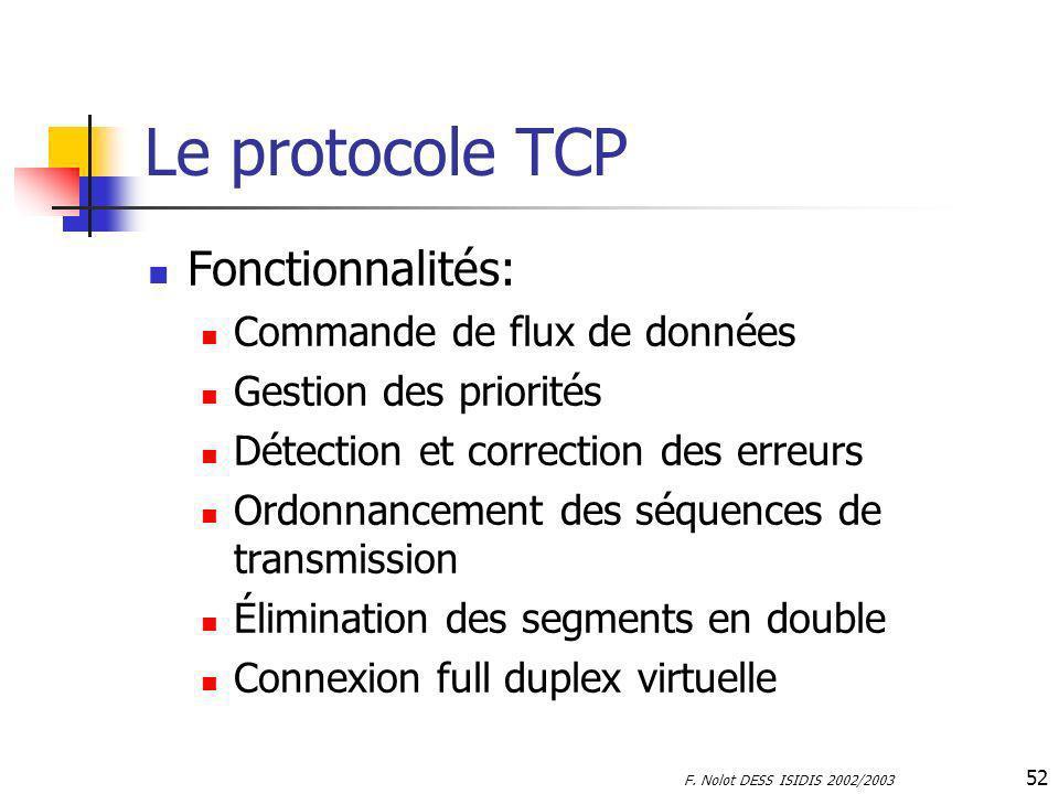 Le protocole TCP Fonctionnalités: Commande de flux de données