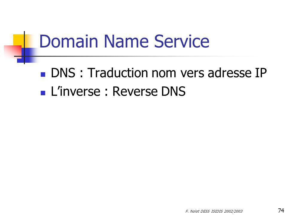 Domain Name Service DNS : Traduction nom vers adresse IP
