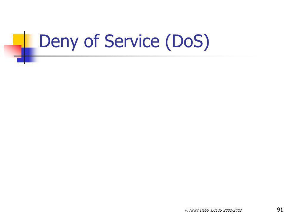 Deny of Service (DoS) F. Nolot DESS ISIDIS 2002/2003