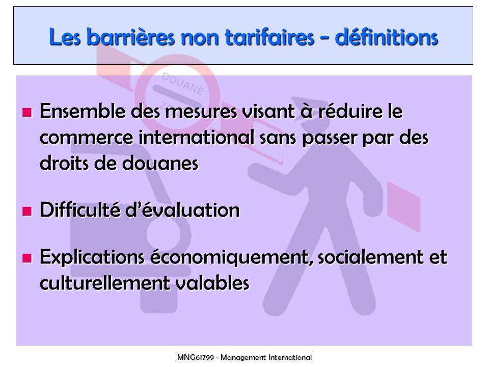 Les barrières non tarifaires - définitions