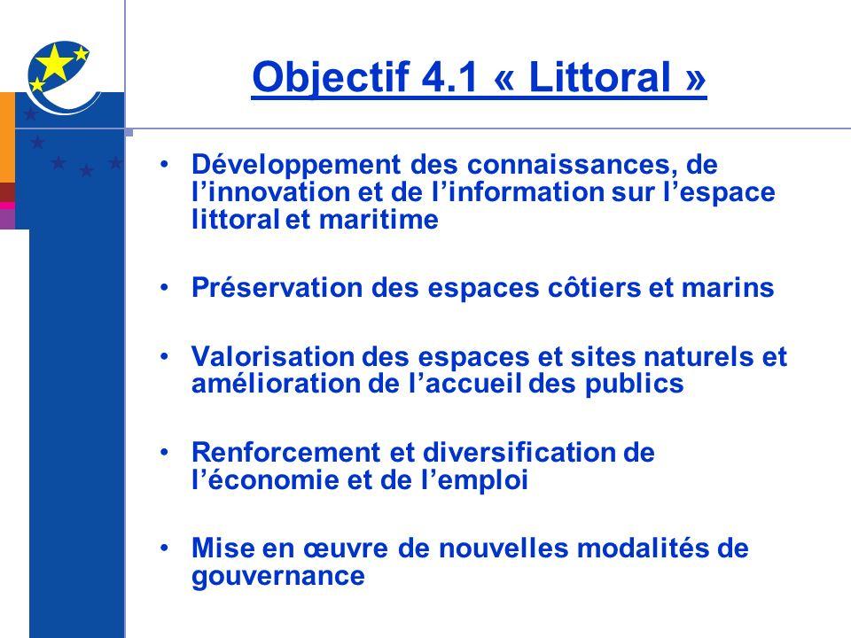 Objectif 4.1 « Littoral » Développement des connaissances, de l'innovation et de l'information sur l'espace littoral et maritime.
