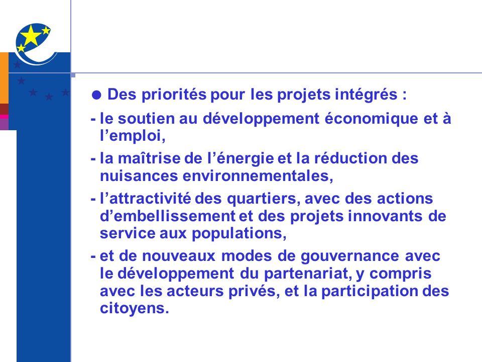 ● Des priorités pour les projets intégrés :