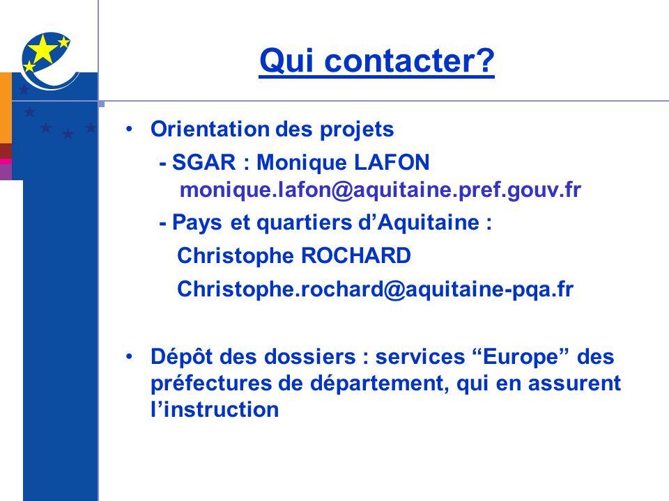 Qui contacter Orientation des projets