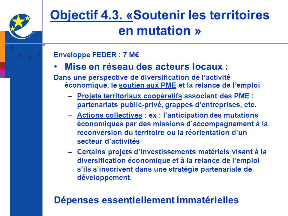 Objectif 4.3. «Soutenir les territoires en mutation »