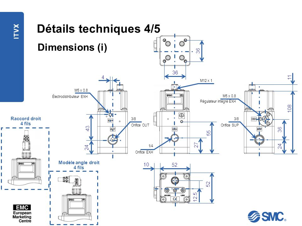 Détails techniques 4/5 Dimensions (i) ITVX 36 36 4 11 108 43 36 55 27