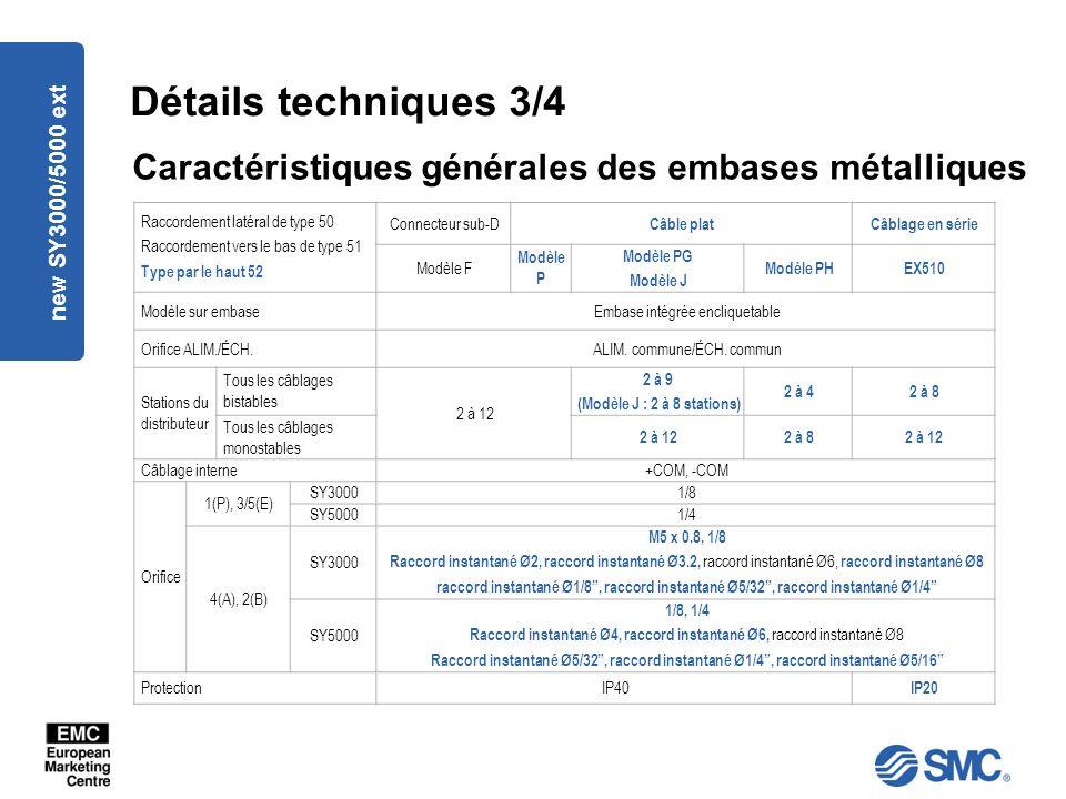 Détails techniques 3/4 Caractéristiques générales des embases métalliques. new SY3000/5000 ext. Raccordement latéral de type 50.