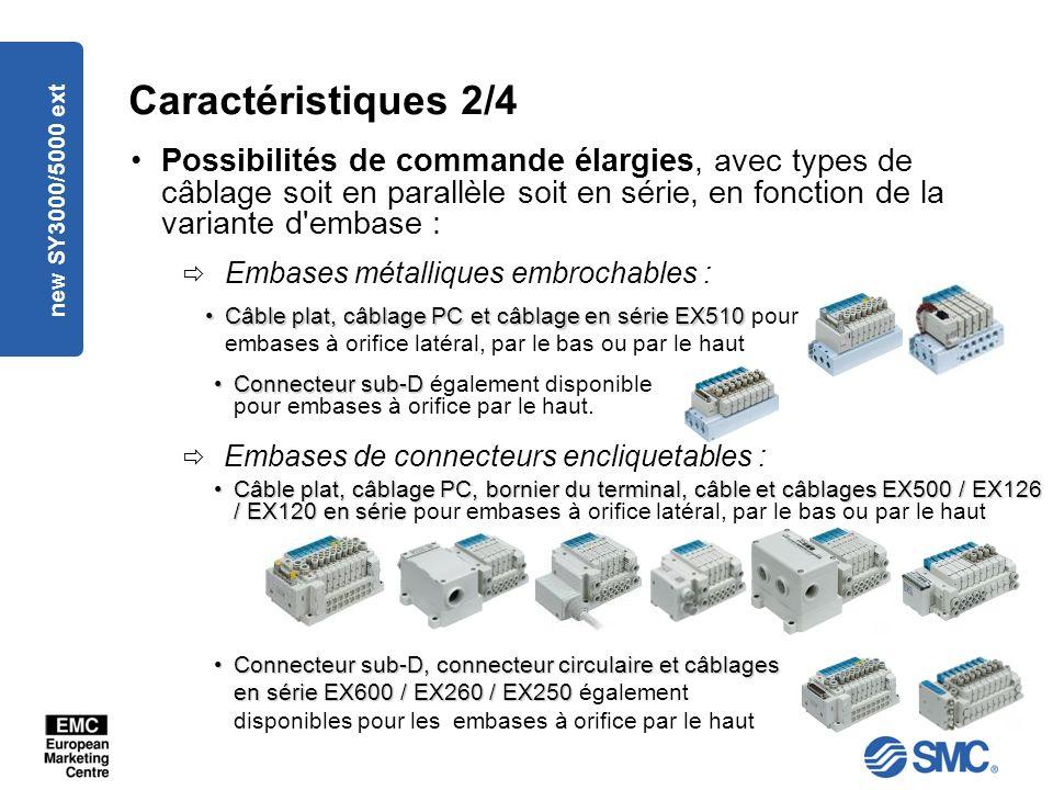 Caractéristiques 2/4 Possibilités de commande élargies, avec types de câblage soit en parallèle soit en série, en fonction de la variante d embase :