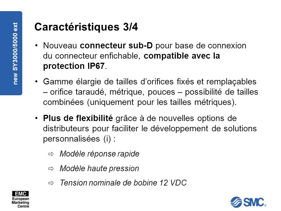 Caractéristiques 3/4 Nouveau connecteur sub-D pour base de connexion du connecteur enfichable, compatible avec la protection IP67.