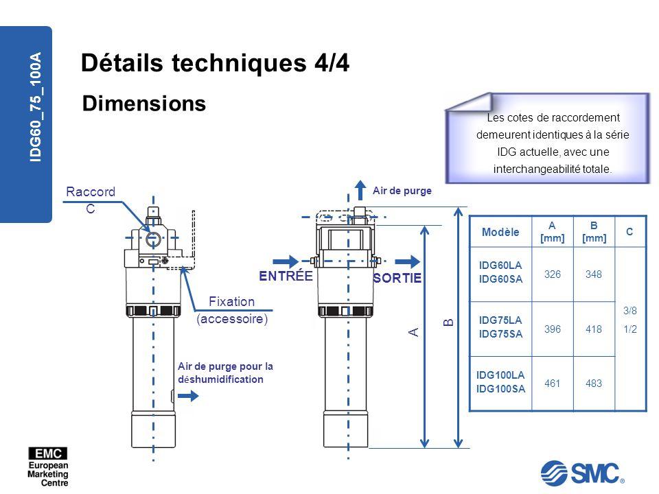 Détails techniques 4/4 Dimensions IDG60_75_100A Raccord C ENTRÉE