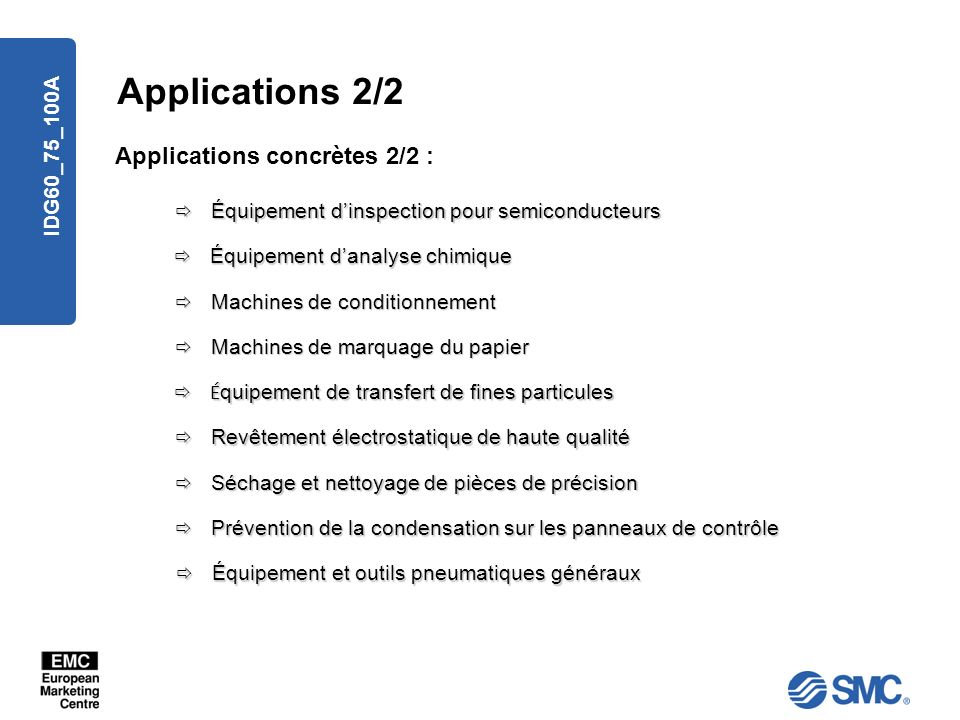 Applications 2/2 Applications concrètes 2/2 : IDG60_75_100A