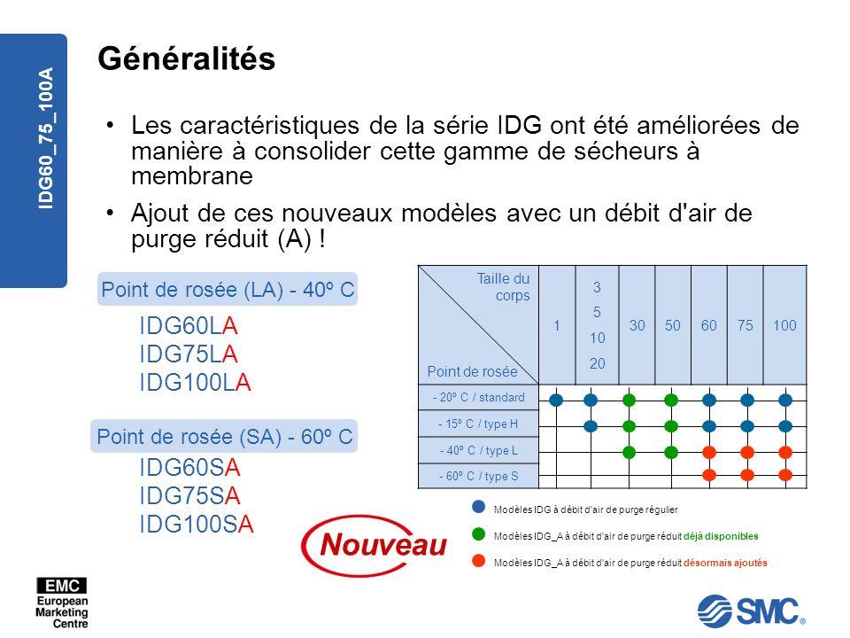 GénéralitésLes caractéristiques de la série IDG ont été améliorées de manière à consolider cette gamme de sécheurs à membrane.