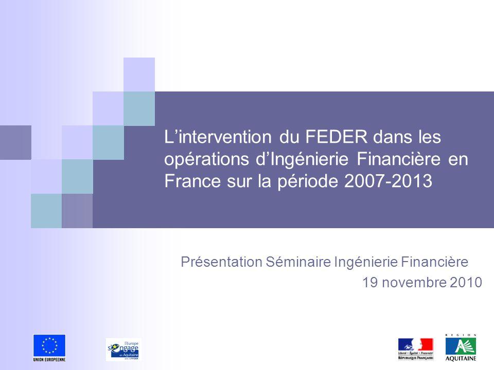 Présentation Séminaire Ingénierie Financière 19 novembre 2010