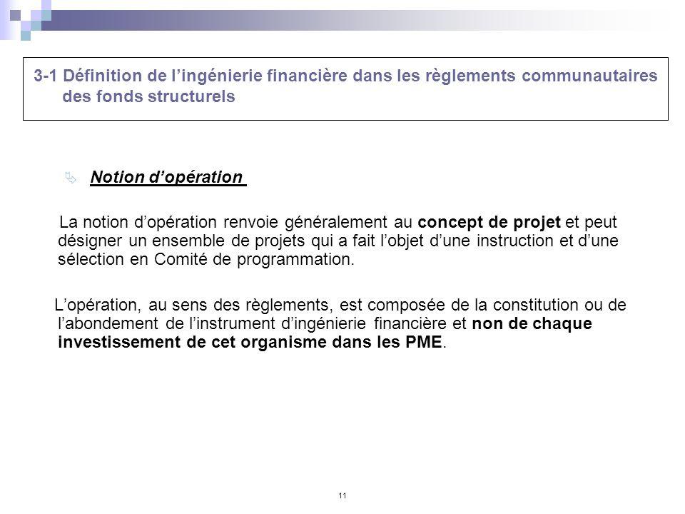 3-1 Définition de l'ingénierie financière dans les règlements communautaires des fonds structurels