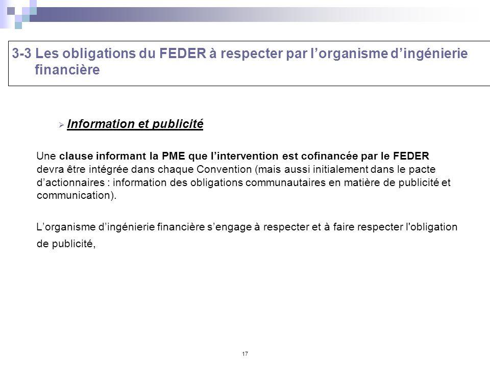 3-3 Les obligations du FEDER à respecter par l'organisme d'ingénierie financière
