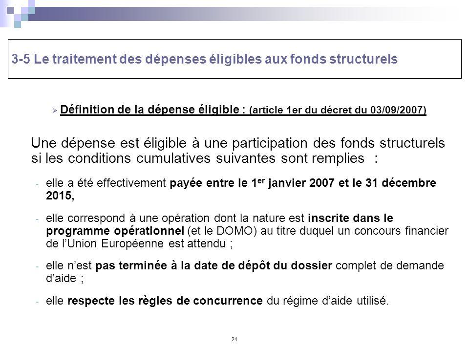 3-5 Le traitement des dépenses éligibles aux fonds structurels