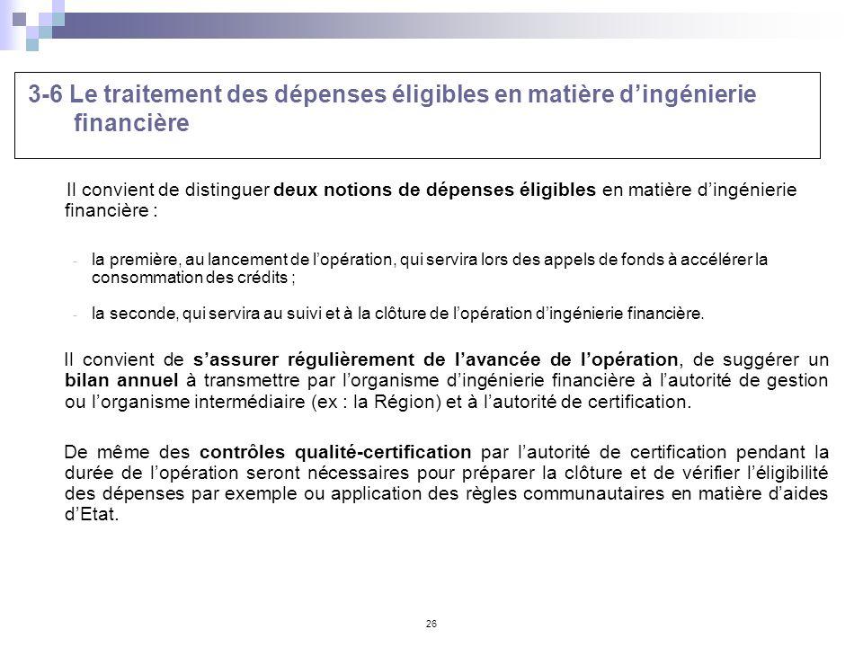 3-6 Le traitement des dépenses éligibles en matière d'ingénierie financière