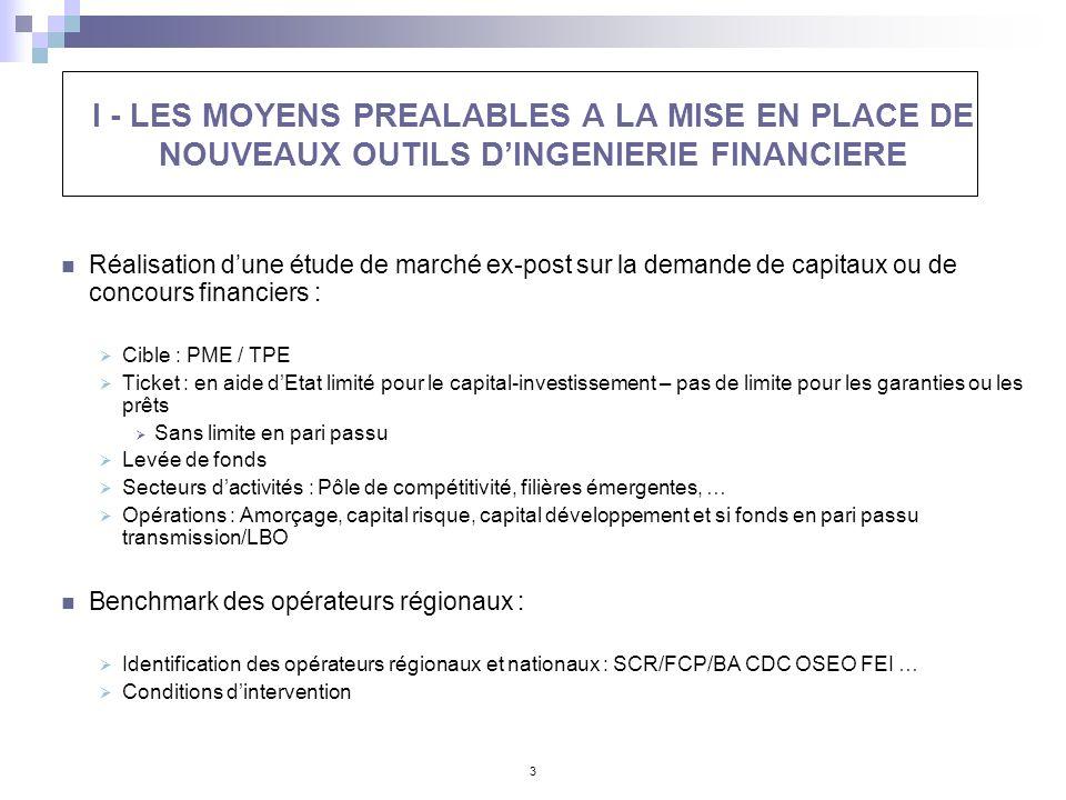 I - LES MOYENS PREALABLES A LA MISE EN PLACE DE NOUVEAUX OUTILS D'INGENIERIE FINANCIERE