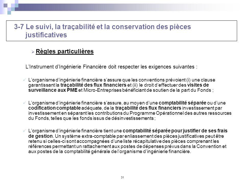 3-7 Le suivi, la traçabilité et la conservation des pièces justificatives