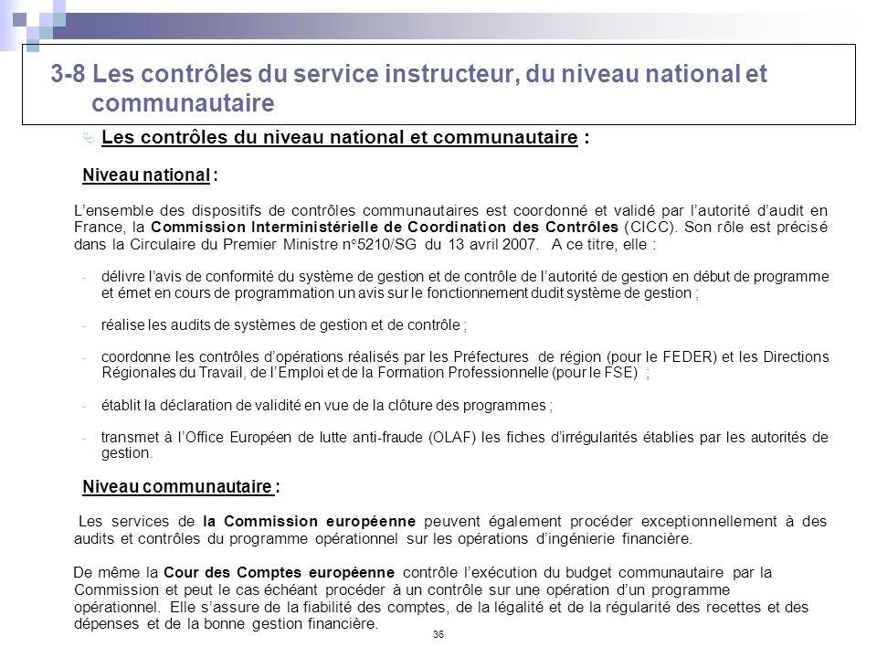 3-8 Les contrôles du service instructeur, du niveau national et communautaire