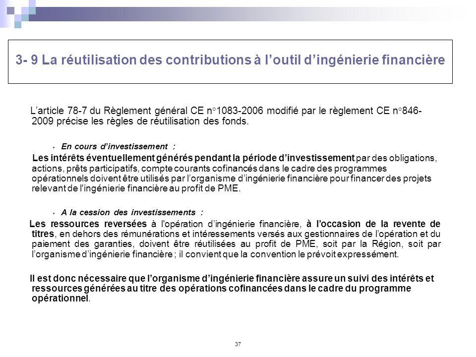 3- 9 La réutilisation des contributions à l'outil d'ingénierie financière