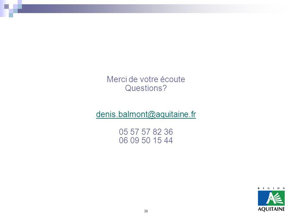 Merci de votre écoute Questions denis.balmont@aquitaine.fr