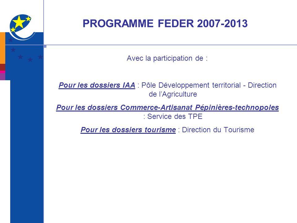 PROGRAMME FEDER 2007-2013 Avec la participation de :
