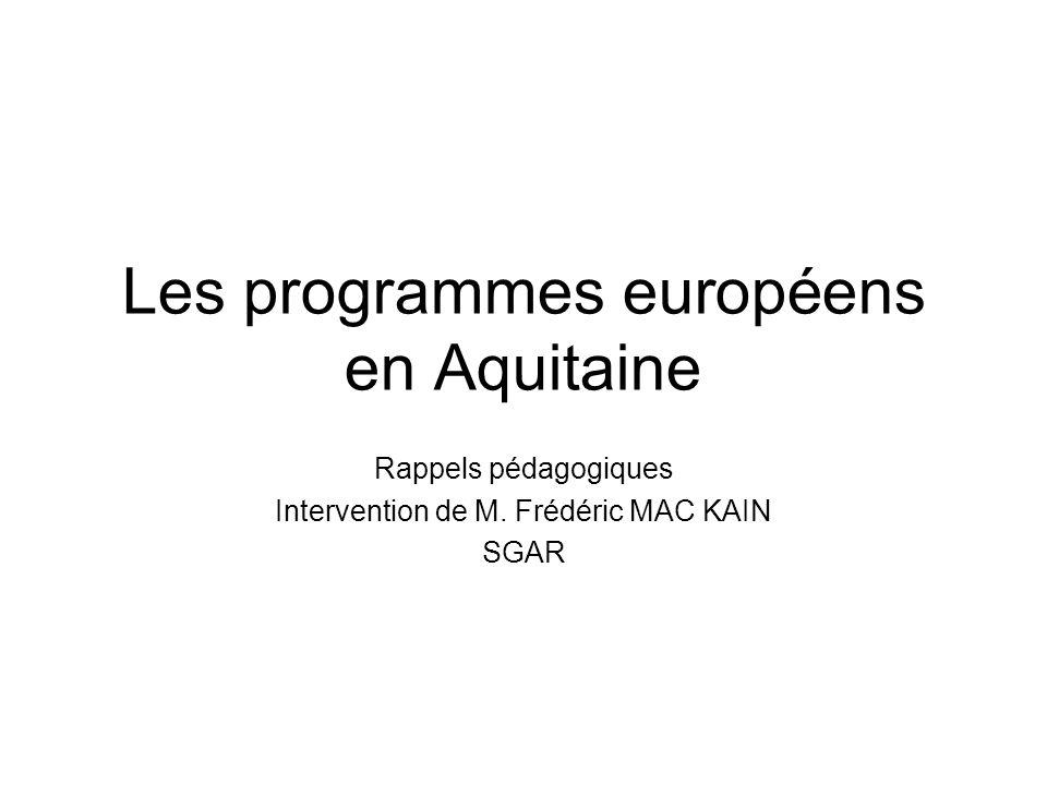 Les programmes européens en Aquitaine