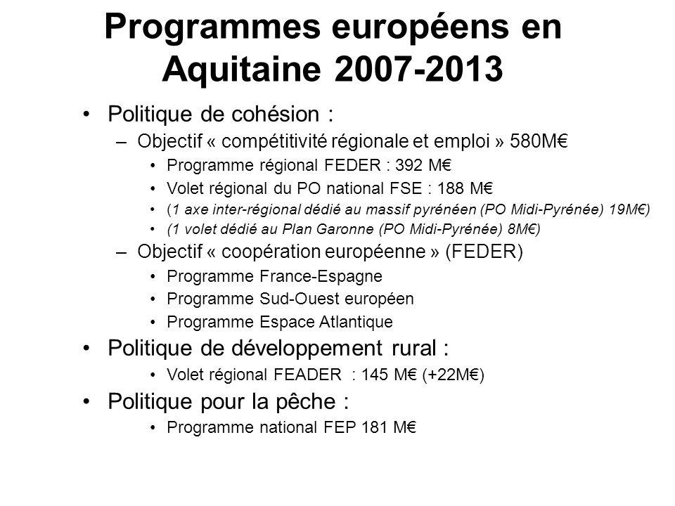 Programmes européens en Aquitaine 2007-2013