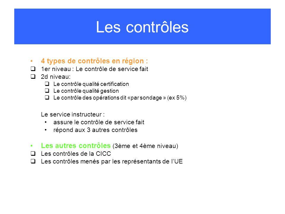 Les contrôles 4 types de contrôles en région :
