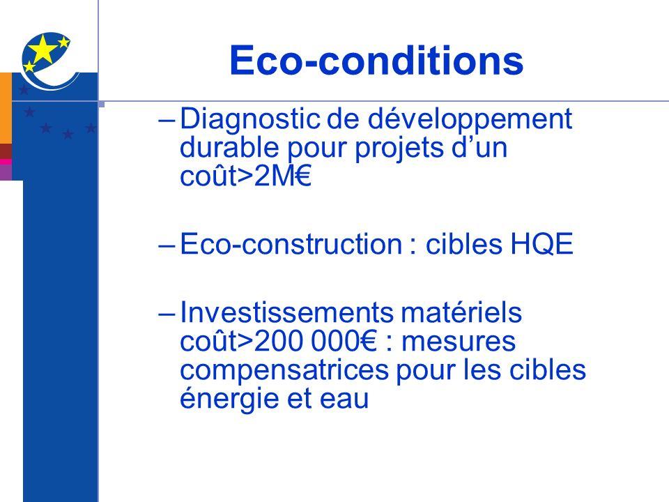Eco-conditions Diagnostic de développement durable pour projets d'un coût>2M€ Eco-construction : cibles HQE.