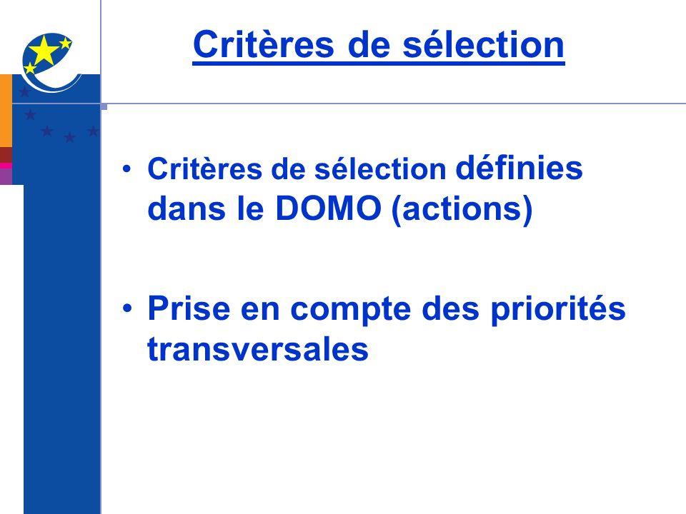Critères de sélection Prise en compte des priorités transversales