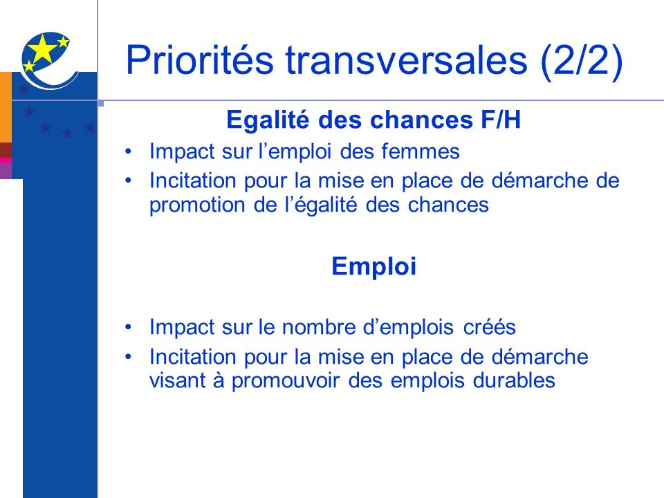 Priorités transversales (2/2)