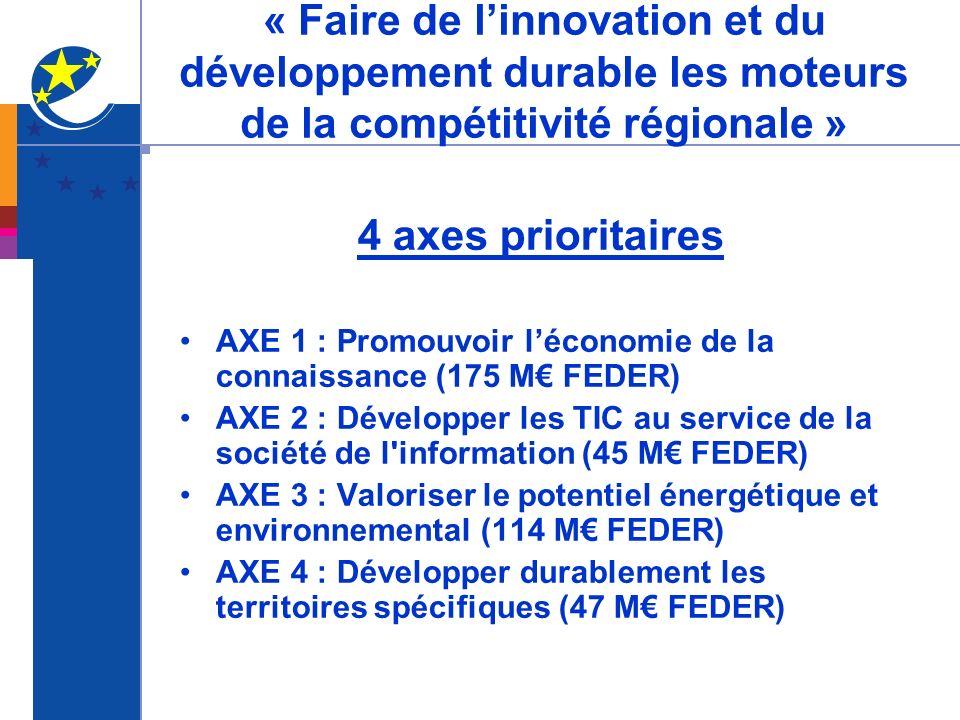 « Faire de l'innovation et du développement durable les moteurs de la compétitivité régionale »