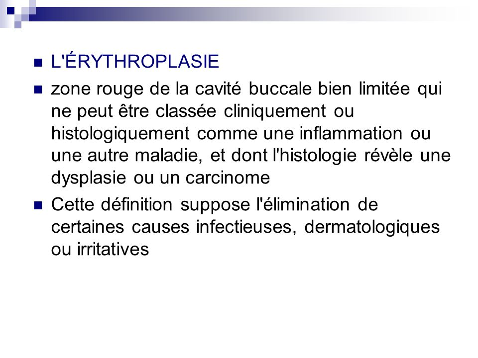 L ÉRYTHROPLASIE