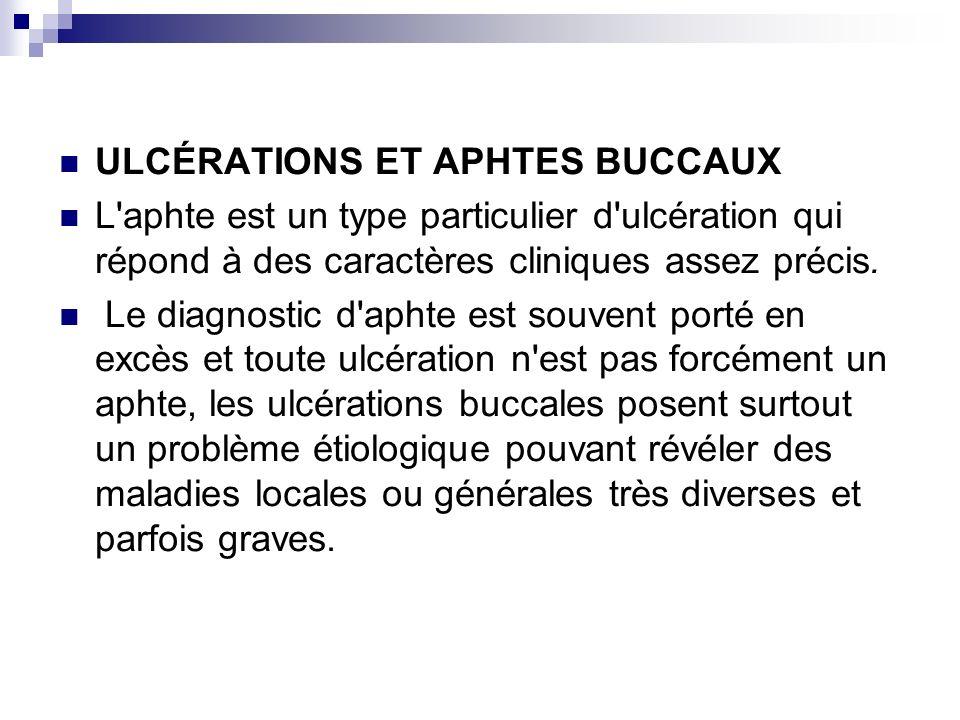 ULCÉRATIONS ET APHTES BUCCAUX