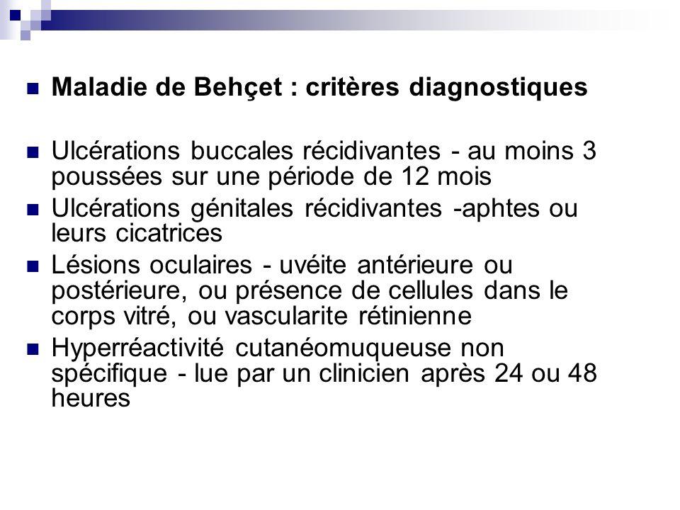 Maladie de Behçet : critères diagnostiques
