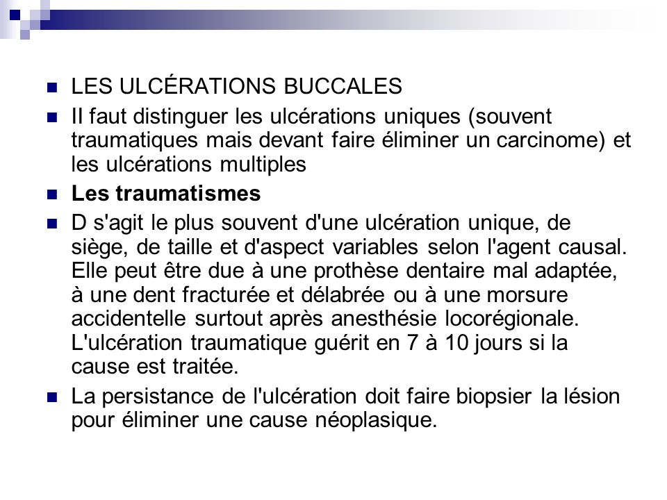 LES ULCÉRATIONS BUCCALES