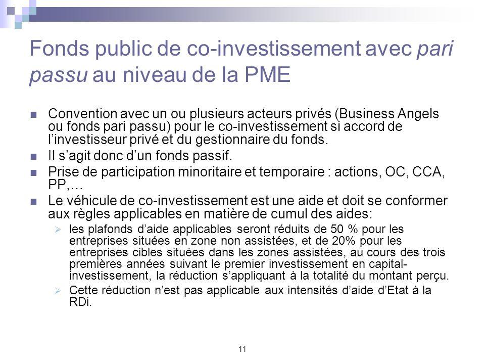 Fonds public de co-investissement avec pari passu au niveau de la PME