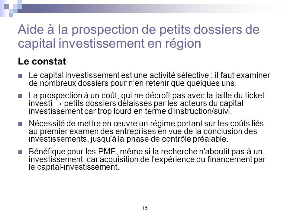 Aide à la prospection de petits dossiers de capital investissement en région