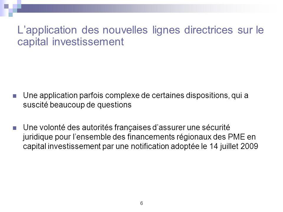 L'application des nouvelles lignes directrices sur le capital investissement