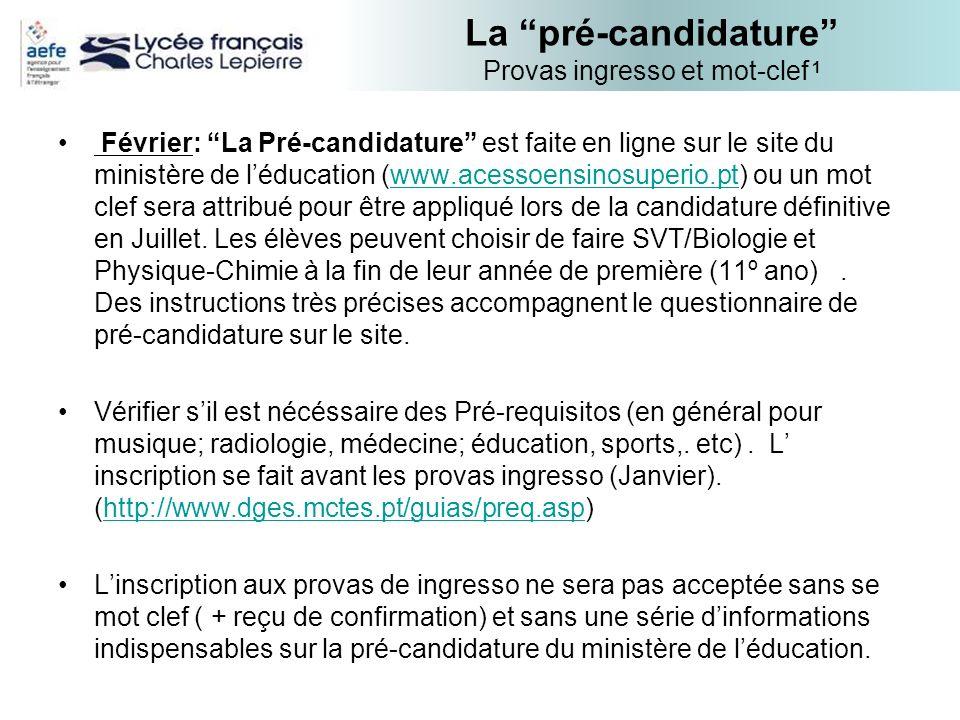 La pré-candidature Provas ingresso et mot-clef 1