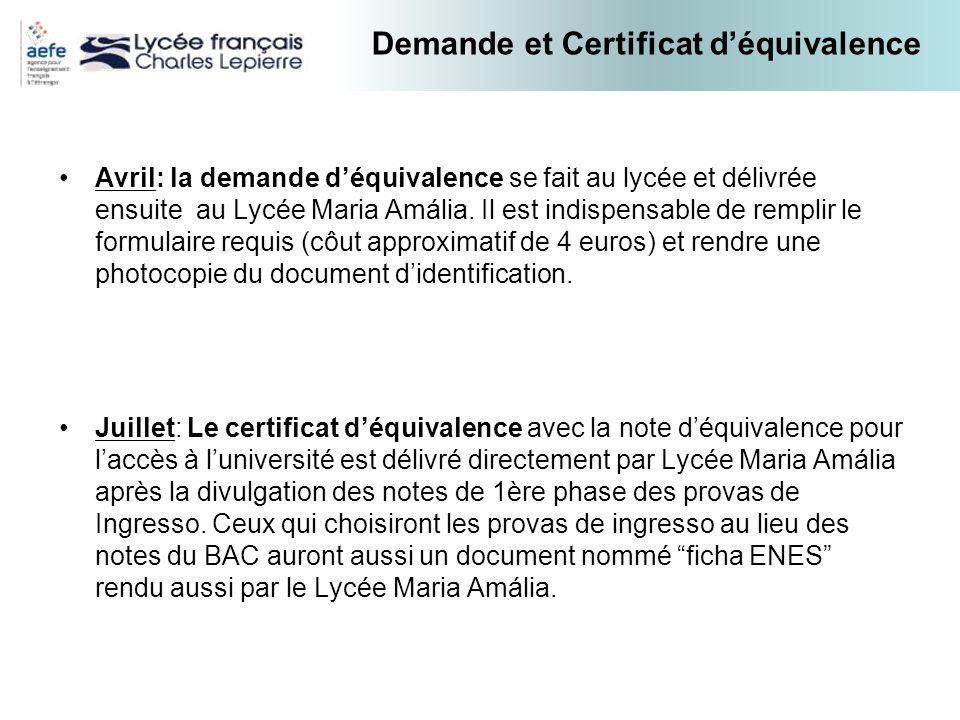 Demande et Certificat d'équivalence