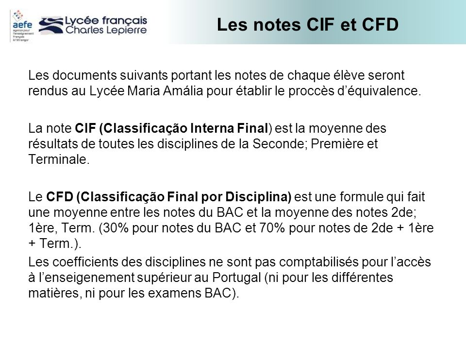 Les notes CIF et CFD