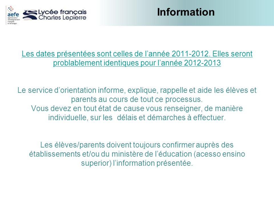 InformationLes dates présentées sont celles de l'année 2011-2012. Elles seront problablement identiques pour l'année 2012-2013.